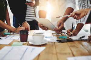 Creativity brainstorming planning teamwork execution then success stock photo